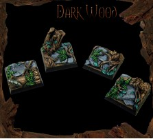 25 x 25mm Dark Wood Bases - Set of 4